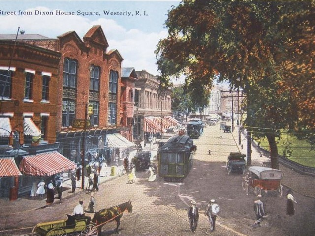 1900's illustration of High Street, Westerly RI