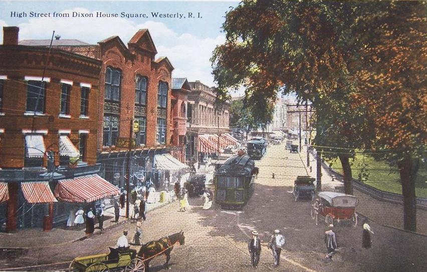 1900's illustration of High Street, Westerly RI