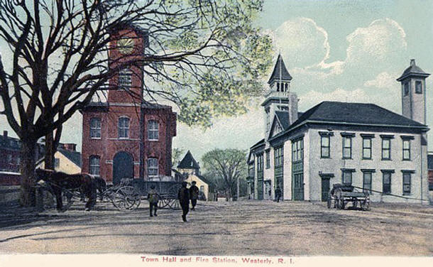 Westerly Town Hall and Fire Station, circa 1900