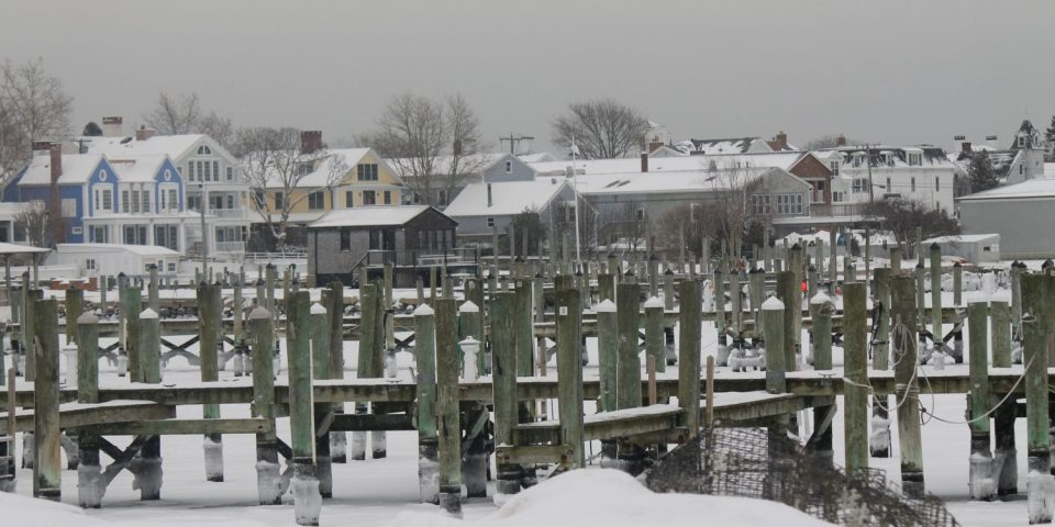 Stonington Harbor in winter.