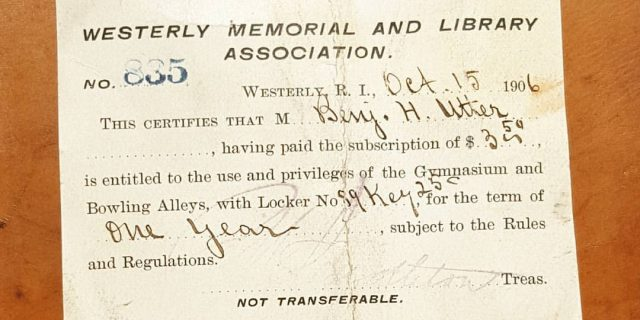 Westerly Library Gym Card from 1906